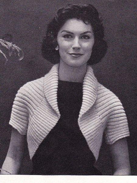 FREE Knitting Pattern: 50′s Ribbed Shrug #free #knitting #pattern #vintage