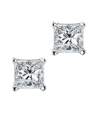 iJewelry2 Princess Cut Square Diamond CZ Basket Set Silver Unisex Stud Earrings…