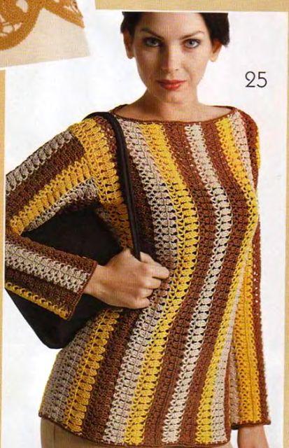 Mejores 21 imágenes de Top blusa túnica tejido a crochet + patrón ...