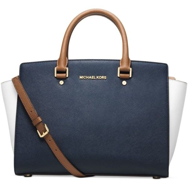Michael Michael Kors Selma Large Colorblock Satchel (£185) ❤ liked on Polyvore featuring bags, handbags, michael kors handbags, michael kors bags, blue handbags, michael kors satchel and colorblock satchel