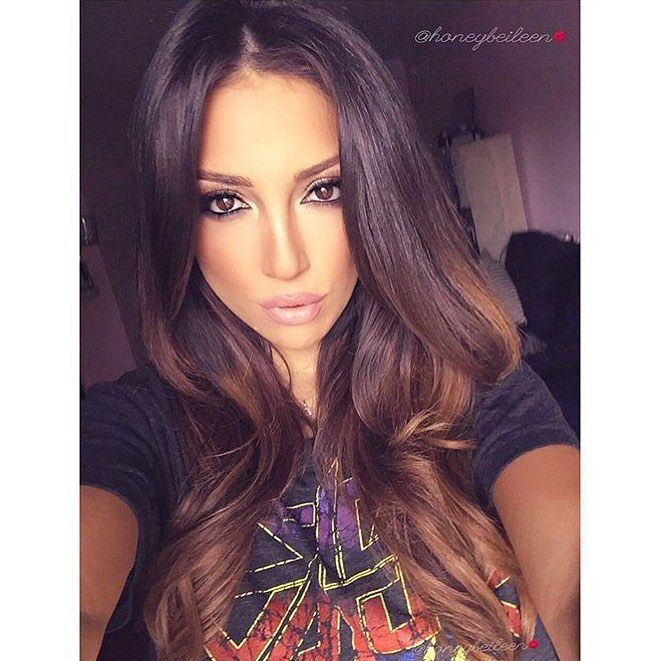 """Balayage fit for our Brunette Bellas <3 Our #bellamibella @honeybeileen rocking  her #BELLAMIBalayage @guy_tang in color #2/#6 #BELLAMIDarkBrownChestnut use code """"honeyb"""" for $$$ off at checkout! :)"""