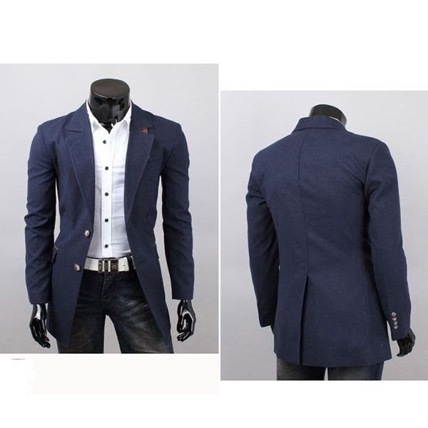 Fashion Korea Version Mens Long Design Leisure Lapel Suit - US$32.68