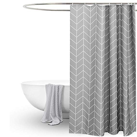 Eurcross Geometric Pattern Grey Shower Curtain For Bathroom Water
