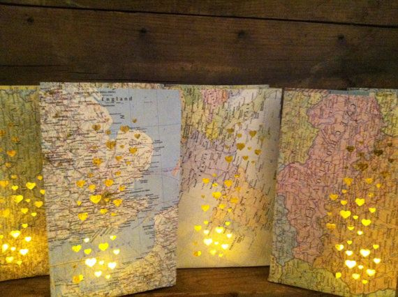 10 Small Map Luminary BagsTravel Theme Decor Made by Oldendesigns, $100.00