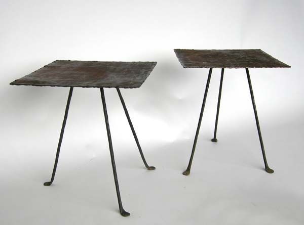 Charmant #48 75 Side Tables Made From Reclaimed Vintage Metal/steel Top Atop  Contemporary Hand Forged Iron Legs. 18x18x19.75 USA | Side Tables |  Pinterest | Vintage ...