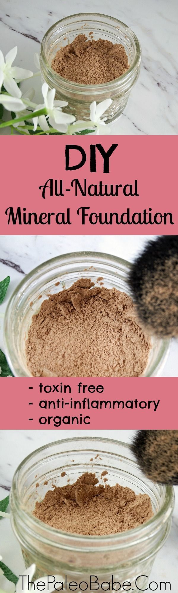 Make your own DIY natural mineral loose powder foundation out of ingredients your probably already have at home. I used arrowroot powder, cacao, cinnamon, ground ginger, bentonite clay and lavender essential oiL! It's detoxifying, anti-inflammatory and 10