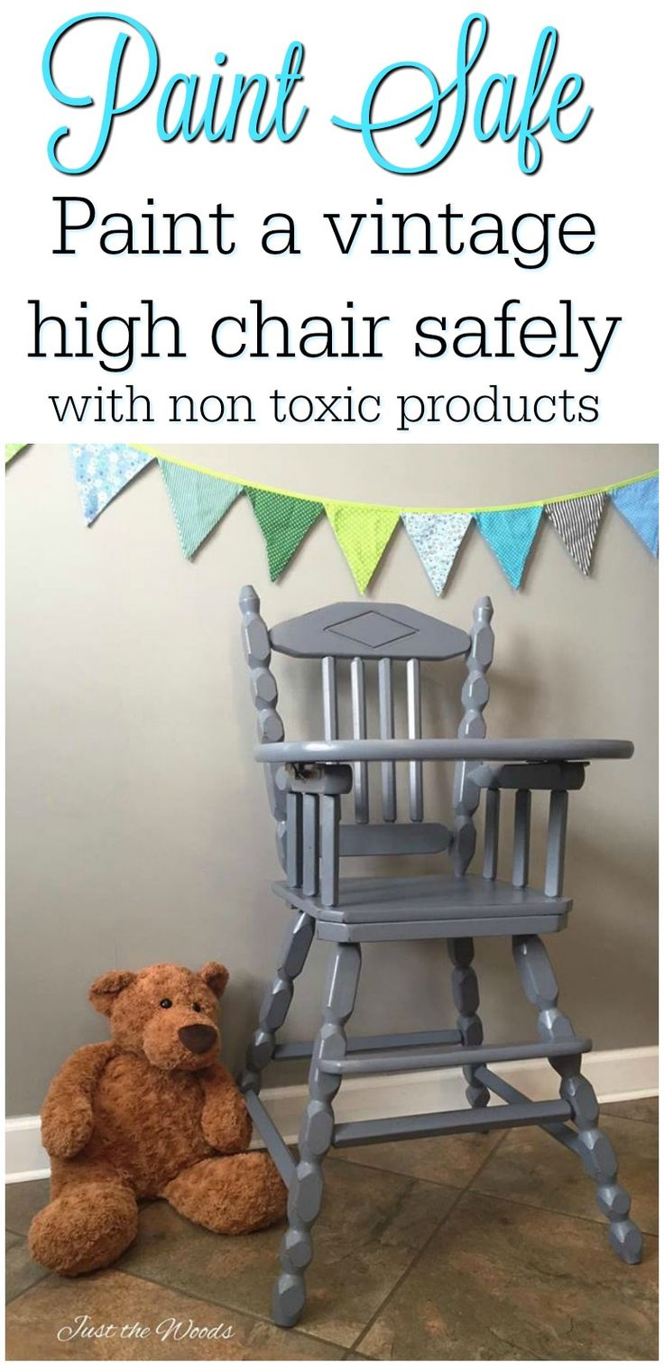 Vintage high chair hand painted using baby safe non toxic paint products. Making painting your high chair 100% safe.