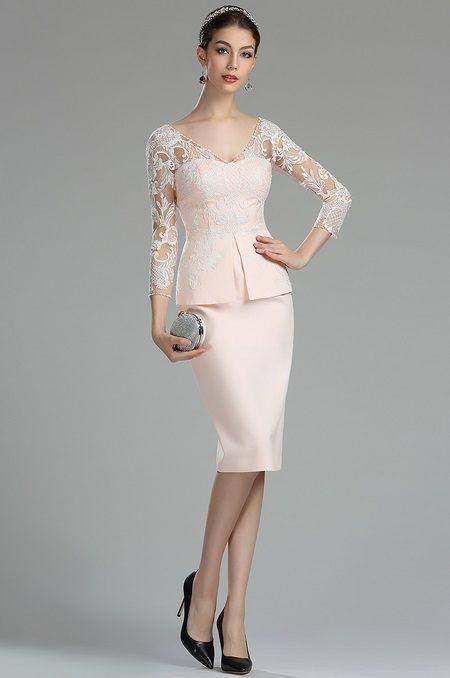 Ružové šaty s bielou čipkou E01114