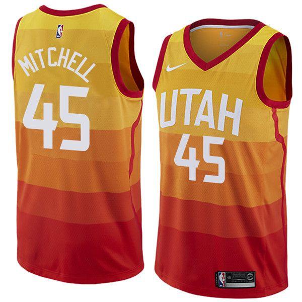 01a5e28df7c2 Utah Jazz 45 Donovan Mitchell Basketball Jerseys White Blue City ...