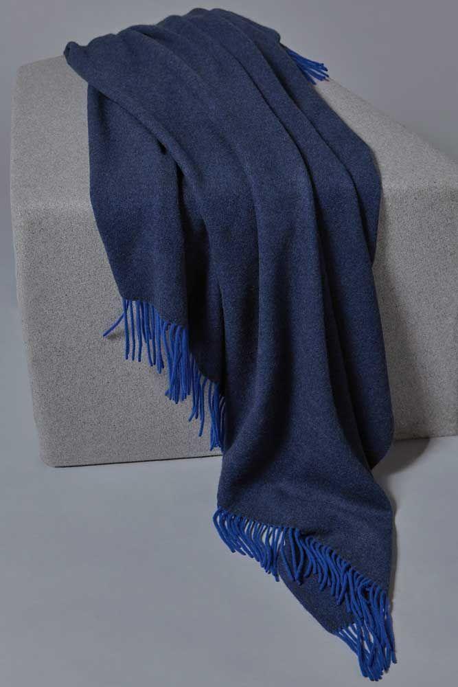 Uno Cashmere Throw Indigo/Ultramarine
