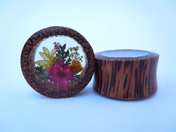 Wood Plugs / Gauges. 3/4 (19mm) or 7/8 (22mm) Real Botanical Flower Arrangement in organic Coconut Wood. Plugs by Gauge Queen via Etsy