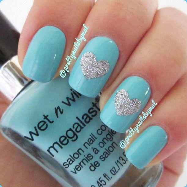 Tiffany Blue Nail Art: Tiffany Blue Nails - @prettynailsbymal