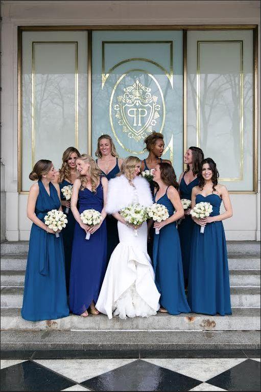JA bridesmaids in Sea of love color!  #joannaaugustbridesmaids #weddinglibrarybride #weddinglibrarybridesmaids