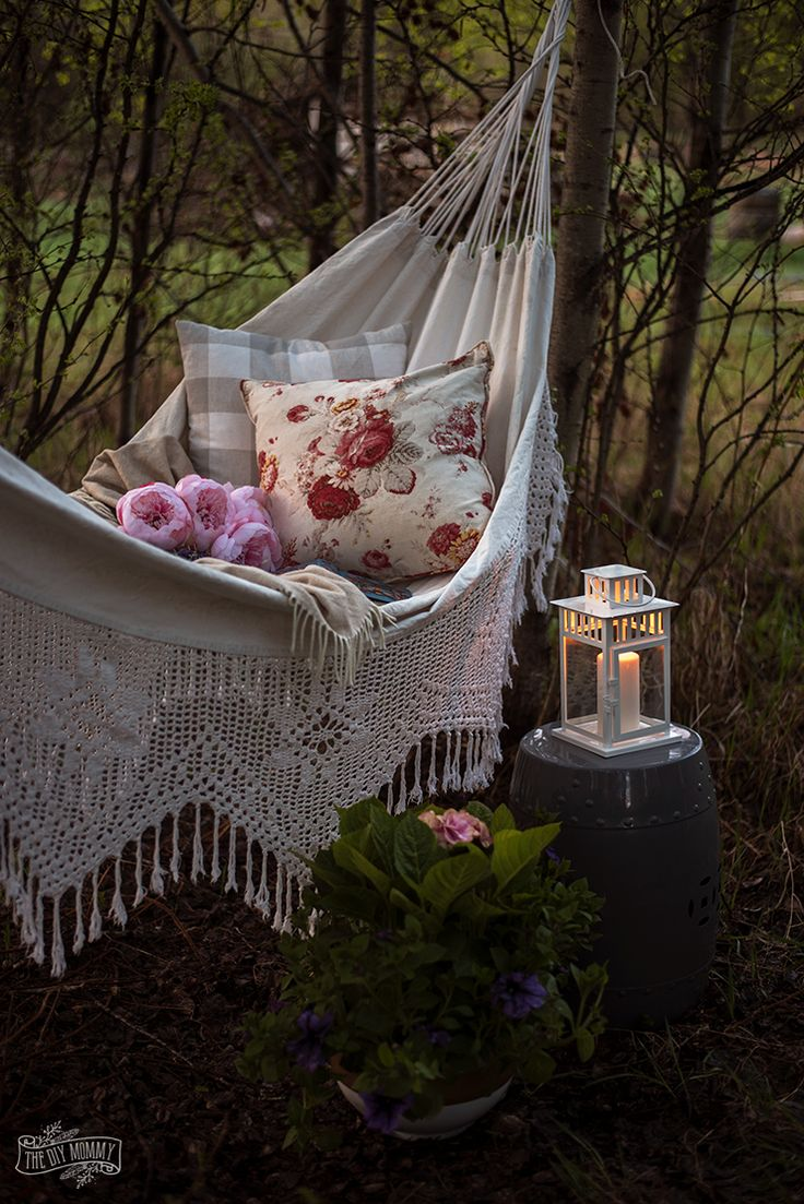 Cozy crochet hammock in the woods