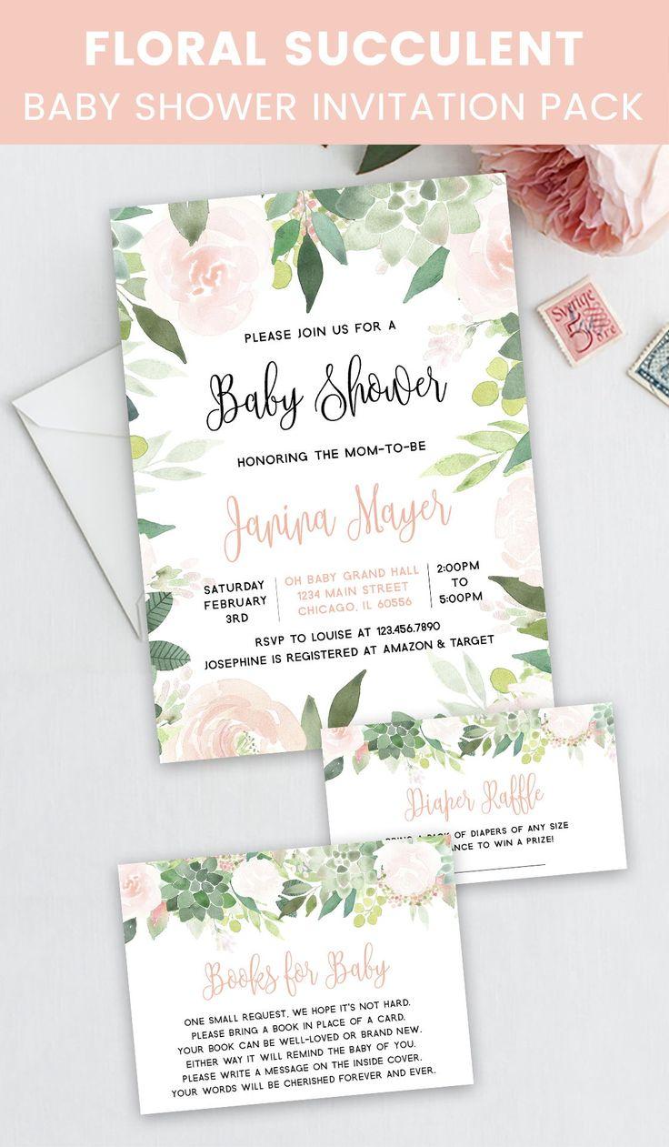 Prost Bundle: Floral saftige Baby-Dusche-Einladungspaket