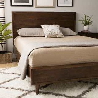 vilas queensize midcentury style bed vilas queen bed brown - Wood Bed Frame Queen