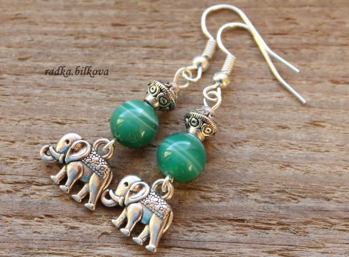 wonderful earrings with silver elephant charms