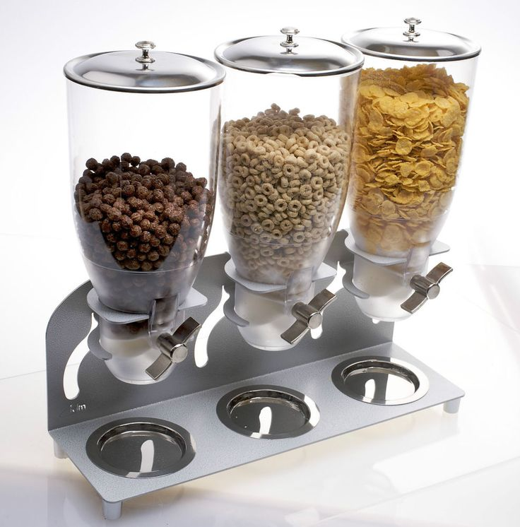 IDM-Tripple Cereal Dispenser Kitchen Metal stand.Professional high quality cereal dispensers used by Hotels, Shops, Bars at affordable prices!!No more half-eaten boxes. Portion control - Great for kids and for keeping your diet. Great for cereals, rice, beans, pasta and more! IDM products are certified with international standards FDA, BGA, EEC and NSF. When you buy an IDM dispenser you Maximize your: Freshness, Hygiene and Savings And Minimize your: Food waste, Packaging waste and Hassle
