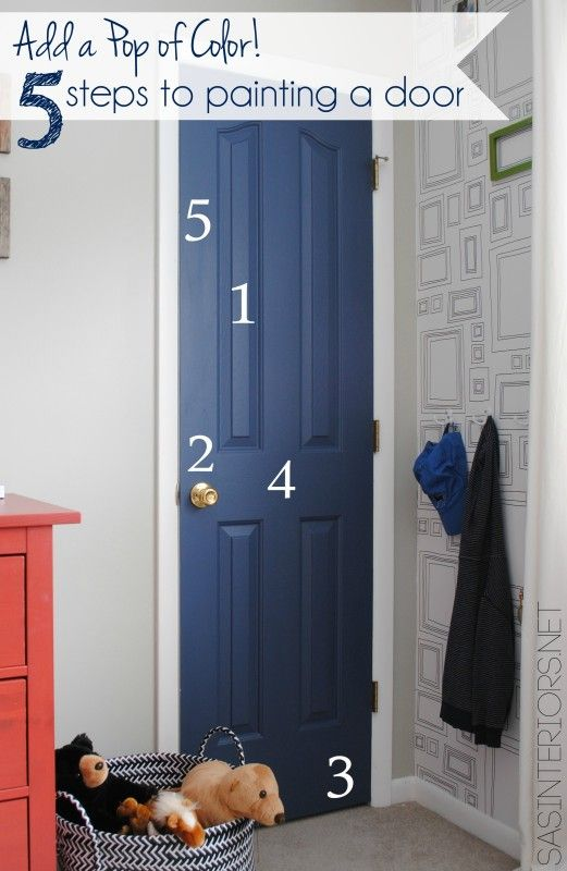 Add a Pop of COLOR by painting the door. Ditch the typical white (interior or exterior) door and add a splash of color. Check out this great how-to with 5 easy steps to transform a door!