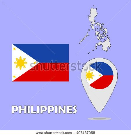 A pointer map and flag of Philippines