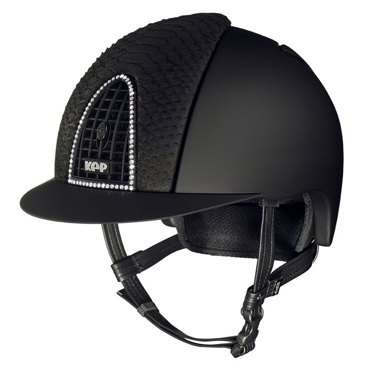 KEP ITALIA let's you chose your style! Black matt + black python leather + crystal clear Swarovski ... A superior combination for a superior helmet!