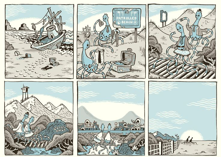 I really like how this comic communicates using images without any texts.  BLUE - by Pat Grant.