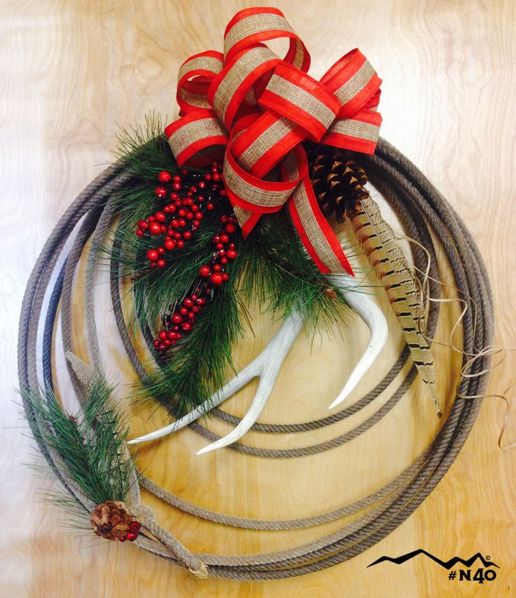 Holiday rope wreath made with rope from North 40 Outfitters.