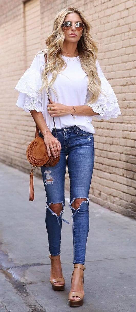 fashionable outsit top + bag + rips + heels