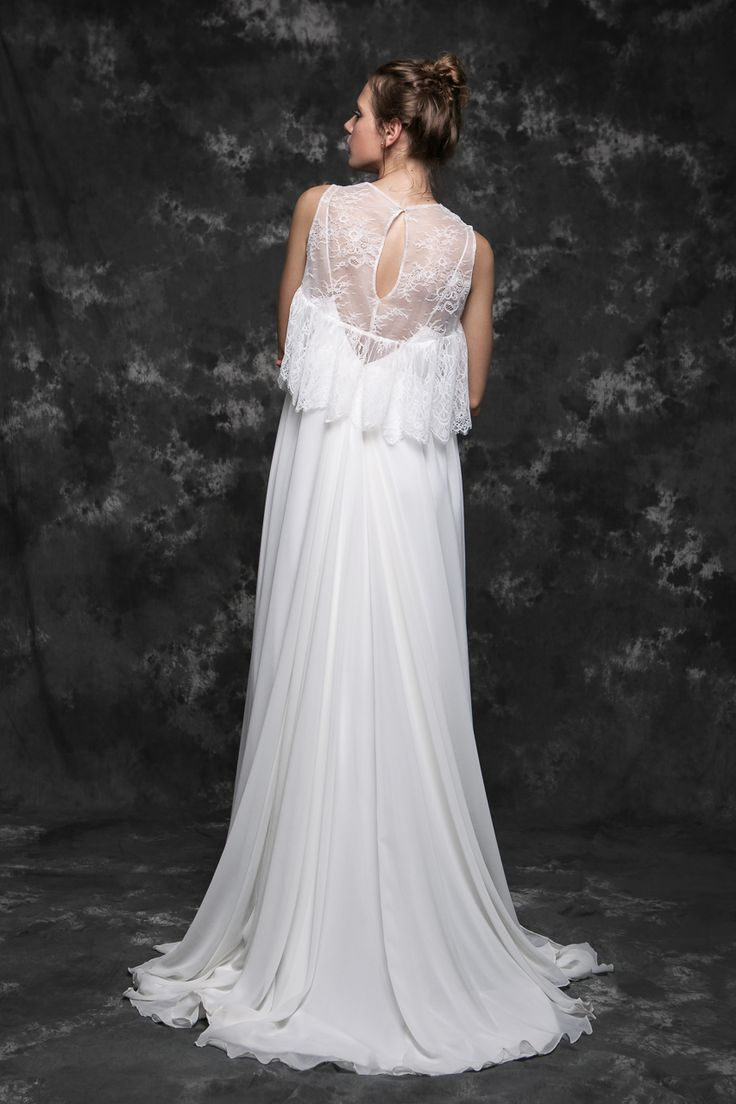 Pureza Mello Breyner Atelier - bridal boho dress in silk crepe and french lace #bride #modern #lace #cotton #silk #romantic #bridal #dress #designer #satin #handmade #by #measure #wedding #boho  #wedding #crepe #french