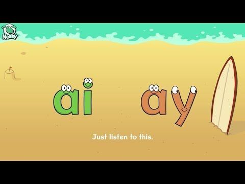 Learning Phonics: Nessy spelling strategy - when to use 'ai' or 'ay' http://learningphonics.blogspot.com