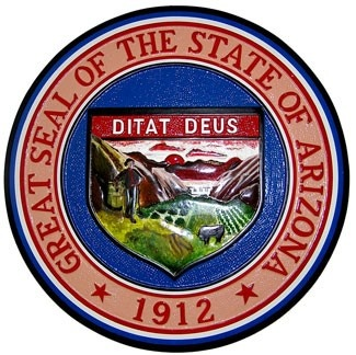 """Arizona State Seal Plaque: Arizona's great seal is ringed by the words """"Great Seal of the State of Arizona"""" on the top, and """"1912"""", the year of Arizona's statehood, on the bottom. The motto Ditat Deus, """"God Enriches"""", lies in the center of the seal. Under the motto is a scene that portrays Arizona's landscape, climate, and industry."""