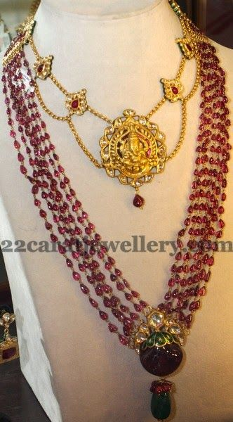 Jewellery Designs: Ganesh Necklace and Ruby Beads Set