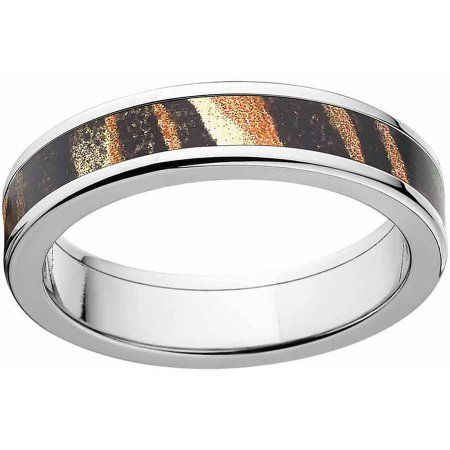 Mossy Oak Shadow Grass Men's Camo Stainless Steel Ring with Polished Edges and Deluxe Comfort Fit, Size: 12.5