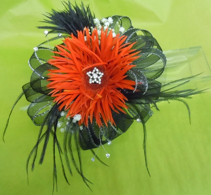 Prom, corsage. One of my favs with frilly gerbera daisy.  Pell City Flower & Gift Shop   36 Comer Avenue Pell City, Al 35125   205-338-2226