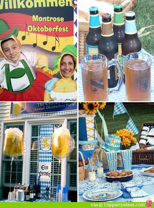 Oktoberfest Party Props, Beer mugs steins, beer balloons and Oktoberfest banner, Oktoberfest picnic with pennants, plates, hats, picnic basket