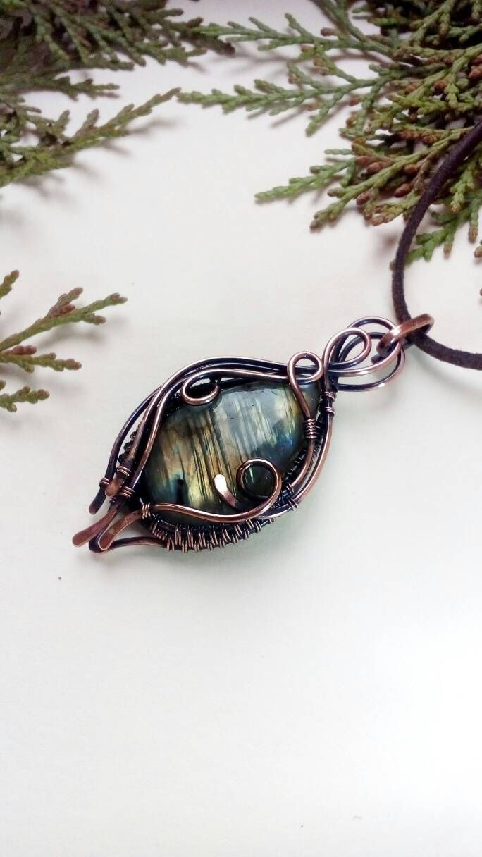 Labradorite necklace Wire wrapped jewelry Natural stone pendant Copper wrap Bohemian jewelry Woman Gift mom Birthday present Gold green blue by CuprumJewelryArt on Etsy https://www.etsy.com/listing/543212067/labradorite-necklace-wire-wrapped