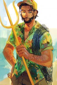 The official art of Poseidon! Doesn't he look dam awesome!? <3