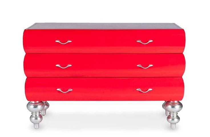 Kommode Barock - Mahagoni massiv - rot - lackiert