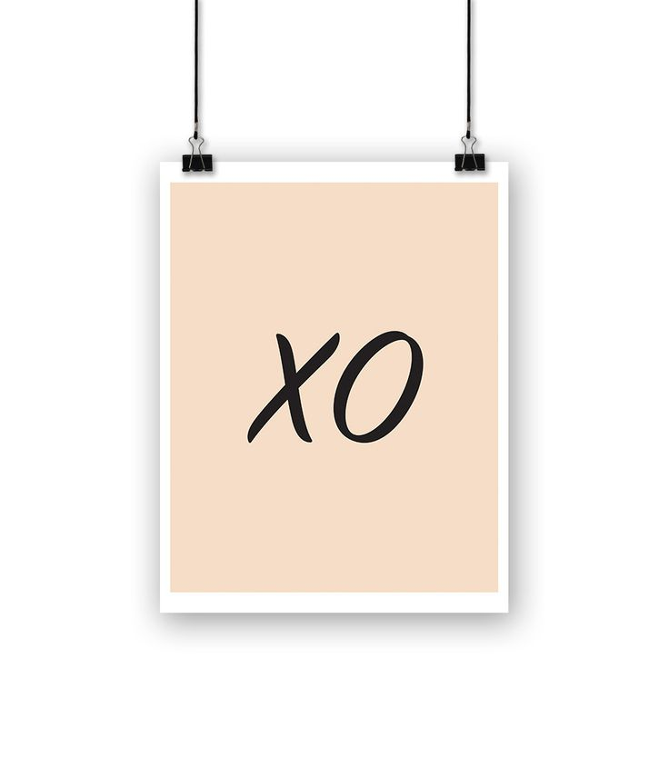 "Inspirational Poster, ""XO"" Hugs and Kisses, Black and white Home Decor, Typography Art by SamraDesigns on Etsy"