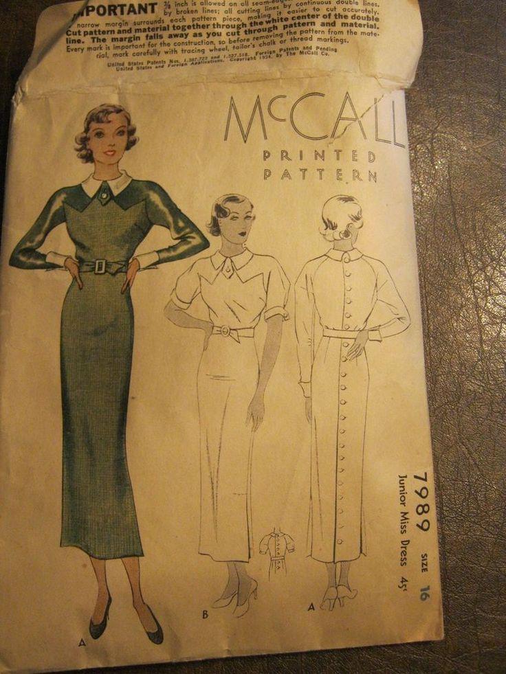 Vintage McCall's Pattern Junior Miss Dress, #7989, 1934 sz 16