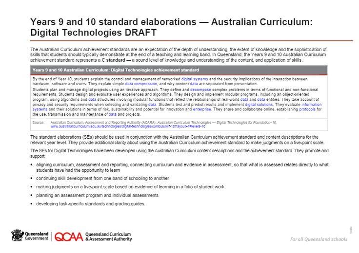 Years 9 and 10 standard elaborations — Australian Curriculum: Digital Technologies DRAFT