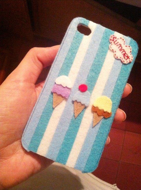 Felt phone case- Felt on plastic case. Just buy a normal, plain case and decorate!