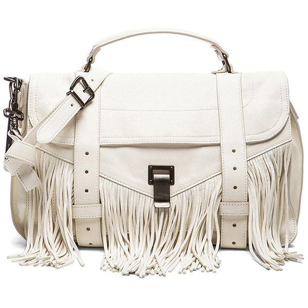 Proenza Schouler Medium Fringe PS1 Bag (£1,345) ❤ liked on Polyvore featuring bags, handbags, fringe bag, white bags, proenza schouler, fringe purse and fringe handbags
