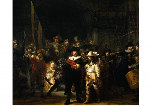 The painting is renowned for three characteristics: its colossal size (363 cm × 437 cm (11.91 ft × 14.34 ft)), the effective use of light and shadow (chiaroscuro), and the perception of motion in what would have traditionally been a static military portrait. An incredible piece housed at the museum in Amsterdam.