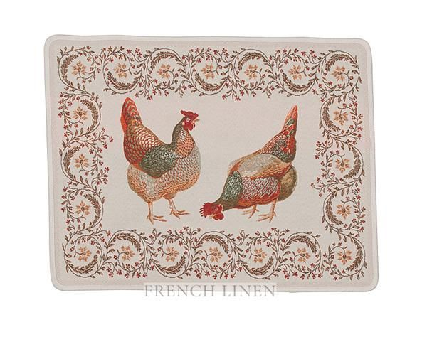 french linen jacquard placement with rooster design