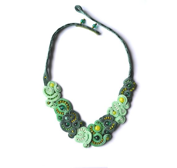 Green necklace with jades and glass beads by StylazkaSoutache