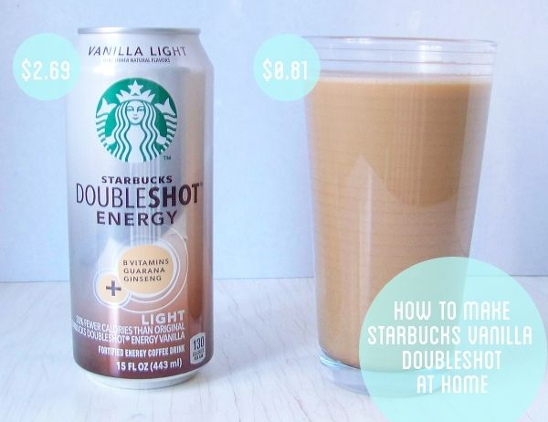 Starbucks Doubleshot recipe  1 cup strong coffee, chilled   ¾ cup vanilla soy milk  1 ½ tablespoons French Vanilla Syrup  Splenda to taste     Chill coffee for a couple of hours. Stir coffee, soy milk and syrup together and add Splenda to taste. Chill for an hour or so if you want it really cold.