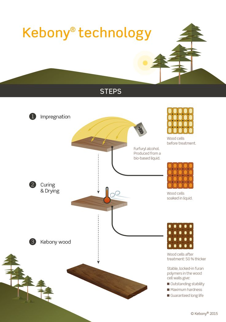 Developed in Norway, the Kebony technology is an environmentally friendly, patented process, which enhances the properties of sustainable softwood with a bio-based liquid. The process permanently modifies the wood cell walls giving Kebony premium hardwood characteristics and a rich brown colour.