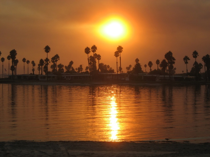 Mission Bay in Pacific Beach, San Diego, during the wildfires of 2007