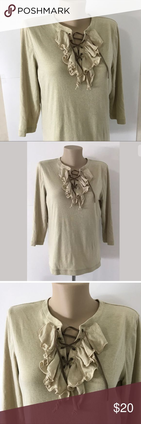 "Lauren Ralph Peasant Blouse XL Ruffle 3/4 Sleeve Up for sale is a Lauren Ralph Lauren Peasant Blouse Womens XL Beige Ruffle Top Shirt 3/4 Sleeve Gently used, no flaws or stains.  Armpit to armpit: 22"" Total length: 25"" Will ship quickly and carefully! Lauren Ralph Lauren Tops Blouses"